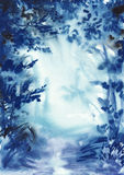 Abstract blue misty forest Stock Photos