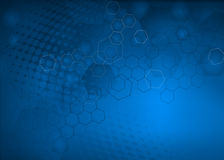 Abstract Blue molecular llustration Background Stock Photo