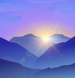Abstract blue mountains landscape with lens flare Stock Images