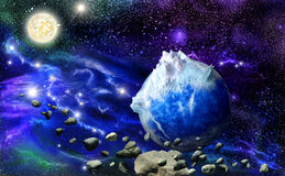 Abstract blue mountains planet Royalty Free Stock Image