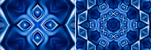 Abstract blue natural background. Set of two blue modern geometric background with blossom Stock Images