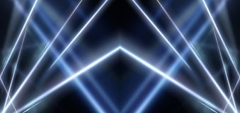 Abstract blue neon background with rays and lines. royalty free stock photography