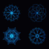 Abstract blue neon shape and fractal collection in vector Royalty Free Stock Images