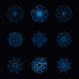 Abstract blue neon shape and fractal collection in vector Stock Photo