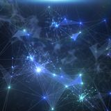 Abstract blue network connection background. Royalty Free Stock Image