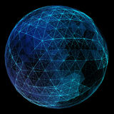 Abstract blue network globe. Technology concept of Stock Photo