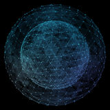 Abstract blue network globe. Technology concept of global communication.  Stock Photos