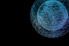 Abstract blue network globe. Technology concept of global communication. 3d illustration stock illustration