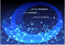 Abstract blue network technology design background vector. Stock Photography