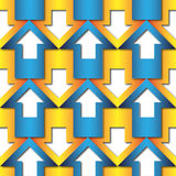 Abstract blue and orange arrows pattern stock illustration