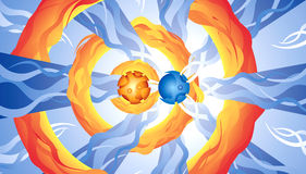 Abstract blue orange drawing Royalty Free Stock Photography
