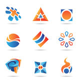 Abstract blue and orange Icon Set 22. Abstract blue and orange Icon Set isolated on a white background Stock Photography
