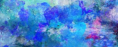 Abstract blue paint textures background. Created by using different photographs, scans and hand painted layers, acrylics and oils. Art, leisure, subdued, rough royalty free illustration