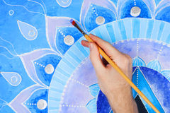 Abstract blue painted picture mandala of Vishuddha Royalty Free Stock Images