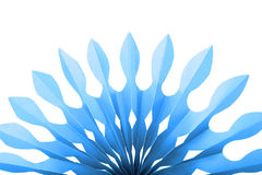 Abstract blue paper fan shape, isolated Stock Images