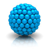 Abstract Blue Particle Sphere On White Background. 3d Render Illustration royalty free illustration
