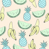 Abstract blue pineapple, green watermelon and banana, fruit in unusual creative colors, vintage seamless pattern,  cartoon backgro. Abstract blue pineapple Stock Photo