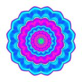 Abstract blue, pink and cyan esoteric petal mandala. Colorful flower isolated on white background. Multicolor bloom. Royalty Free Stock Photo