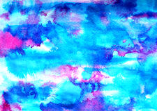 Abstract blue pink ink painting on grunge paper texture. Hand painted watercolor background. wash. Illustration stain Royalty Free Stock Photos