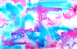 Abstract blue pink ink painting on grunge paper texture. Hand painted watercolor background. wash. Illustration stain Royalty Free Stock Photography