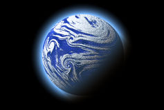 Abstract blue planet with atmosphere, cosmos,. Abstract single blue planet with atmosphere, cosmos details Stock Photo