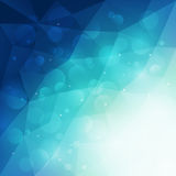 Abstract blue polygonal background with light and bokeh effect. Vector illustration Stock Photos