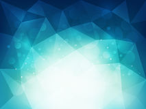 Abstract blue polygonal background with light and bokeh effect. Vector illustration Stock Images
