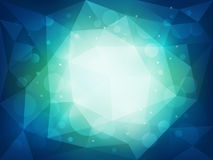 Abstract blue polygonal background with light and bokeh effect. Vector illustration Stock Photography
