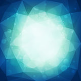 Abstract blue polygonal background with light and bokeh effect. Vector illustration Royalty Free Stock Photo