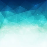 Abstract blue polygonal background with light and bokeh effect. Vector illustration royalty free illustration