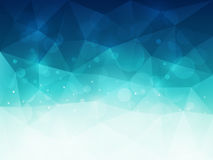 Abstract blue polygonal background with light and bokeh effect. Vector illustration Royalty Free Stock Images