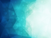 Abstract blue polygonal background with light and bokeh effect. Vector illustration Stock Image