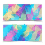 Abstract Blue Polygonal banners set Royalty Free Stock Images