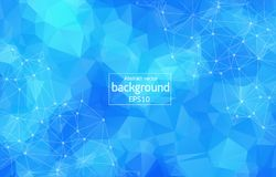Abstract Blue Polygonal Space Background with Connecting Dots and Lines. Connection structure. Vector science background. Polygon. Abstract Blue Polygonal Space Royalty Free Stock Image