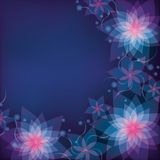 Abstract blue - purple floral background with flow. Ers lilies. Greeting or invitation card. Vector background Royalty Free Stock Photo
