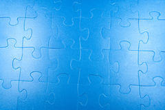 Abstract blue puzzle background. Large mosaic and blue color in the entire background Royalty Free Stock Photography