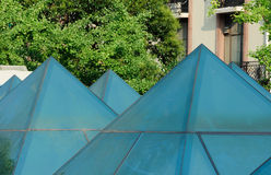 Abstract blue pyramids in Shanghai Stock Photography