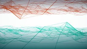 Abstract blue and red clouds linked triangles waving on white background. Animation. Geometrical background with moving. Abstract blue and red clouds linked royalty free illustration