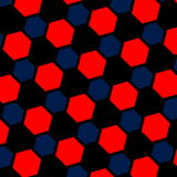 Abstract blue red hexagon illustration. Macro background. Pattern web page. Art design. Computer generated. Modern structure. Stock Photo