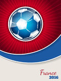 Abstract blue red soccer brochure template. With bursting scribbled ball Stock Image