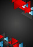 Abstract blue red triangles on black background Stock Photos