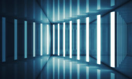 Abstract blue room interior with neon lights. Abstract blue room interior with stripes of neon lights and reflections. Futuristic architecture background. 3d vector illustration