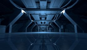 Abstract Blue Sci Fi Futuristic Interior Design Corridor.3D Rendering. 3D rendering of abstract dark blue sci fi futuristic space station or ship interior Stock Photos