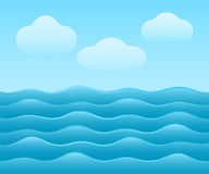 Abstract blue sea background. With clouds Stock Photo