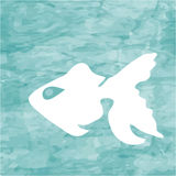 Abstract blue sea background with white fish Stock Photo