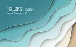 Abstract blue sea and beach summer background with curve paper wave and seacoast, cropped with clipping mask for banner, poster Royalty Free Stock Photography
