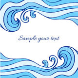 Abstract blue sea waves isolated on white background, Vector graphic illustration, decorative frame with space for text Royalty Free Stock Image