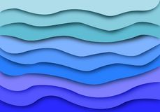 Abstract blue sea waves layer background. Paper cut art design pattern. vector illustration