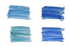 Abstract blue set of watercolor hand draw paint brush strokes Isolated ilustration stock images