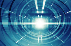 Abstract blue shining 3d tunnel interior with lights Stock Images